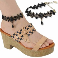 Women's Vintage Style Black Lace Chain Bangles Ankle Chain PJ088