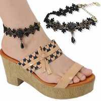 Women's Vintage Style Black Lace Chain Bangles Ankle Chain PJ088