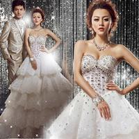 latest Princess bride diamond wedding dress rhinestone tube top train wedding dress  china dress