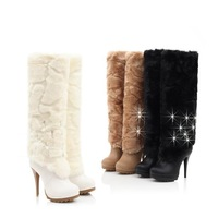 2013 fashion sexy high heel knee boots,rabbit fur boots rhinestone winter footwear,tall canister boots tassel snow boots pumps