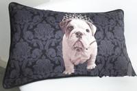 NEW Modern Black Baroque Bulldog with Crown Prints Fashion Home Car Decorative Art Cotton Lumbar Pillow Case Cushion Cover Sham