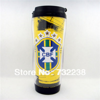 Brazil National team  football fans Plastic Travel Mug 12 OZ Thermal Mug Snap Lid Coffee Mug Cup 350ml NEW