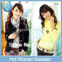 Free shipping women long-sleeved turn-down Collar sweater women primer shirt lady turtleneck warm pullovers cardigan women