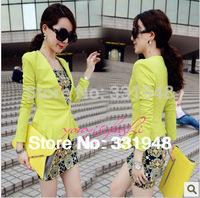 2014 Free shipping THE LAST BATCH Fashion women's Hot sales blazrers lace jacket High quality  neon yellow ruffle slim coat