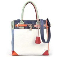 2013 New fashion designer Women Mixed colors handbag with lock  women shoulder bag totes free shipping