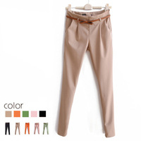 2013 spring candy color casual thin pants western-style trousers long pencil pants with belt