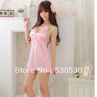 Romantic pink sexy lingerie ,Lace and Ultrashort, perspective sexy nightgown Free size+Free shipping