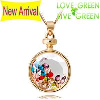 2014 New Arrival hotselling famous brand austrian crystal Vintage Perfume Bottle Drop Pendants Choker Necklaces Jewelry 3556