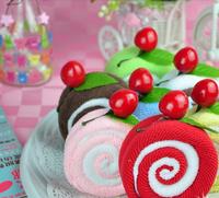 Lovers Christmas child gift magic salon cake towel 100% Cotton small strawberry swiss roll
