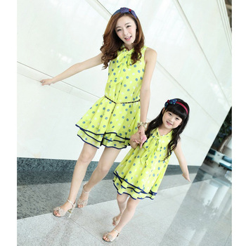 Free shipping 2013 summer new arrival mother and daughter chiffon dot loose gentlewomen dress skirt Mother and filha saia