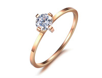 fashion rings, newest design Rhinestone rose gold plated stainless steel Ladies ring, wedding rings factory price supply,