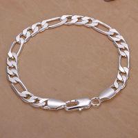 Factory price 925 sterling Silver bracelet 2013 Fashion Jewelry bracelets for women 8M Figaro silver bracelet chain H200