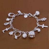 Christmas sale!silver 13 charm bracelet,wholesale 925 silver jewelry,  silver fashion bracelet jewelry H144