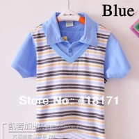 Free Shipping kids summer children short sleeve polo shirt,boys dickie V collar shirt net cotton sport shirt 3colors