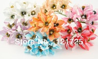 Free ShippingMini artificial Flower Hand Made Small paper lily flower for  Wedding Bouquet Scrapbooking Decor