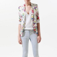 New 2014 Fashion Chic Blazer Woman Suit Jacket Long Sleeve Slim Fit Small Coat Floral Prints Women Single Button Blazer  XYJ6376