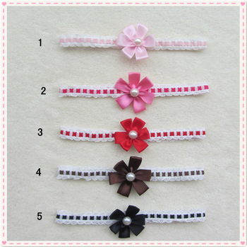 fashion new lace headband with small six petal pearl flower 20 pcs/lot baby headbands flowers
