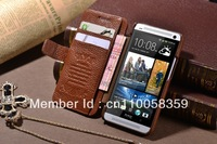 For HTC ONE M7 Luxury High Quality K-COOL Genuine Cow Leather Skin Flip Cover Wallet +Card Holder Stand Protect Case