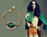 high quality 2013 new design vintage green crystal chunky chain bracelet for women length 20cm