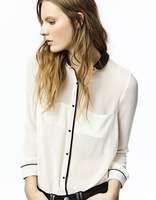 2013 New Hot! Lady Sexy Long Sleeve Blouse Button Shirt Top Hit hit material stitching beige color W4160