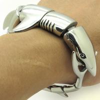 New 2013 wholesale Fashion Solid Heavy Polishing Smooth Shark bracelet Bangle Men's Biker Silver Stainless Steel Cool Bracelets