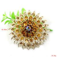 Free Shipping 6PC/Lot  Fashion simulated Rhinestone Crystal breastpin Alloy Sunflower Brooch P878-001