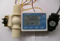 """G1"""" Water Flow Control LCD Display+Flow Sensor Meter+Solenoid Valve Gauge New"""