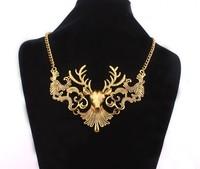 (Min order $10,Mix Order) Retro Vintage Golden Chain Game of Thrones got Baratheon Deer Fawn Bib Pendant Necklace