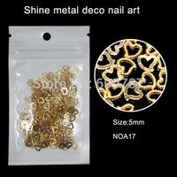 200pcs/lot 5mm Sweet Heart Hollow Alloy Metal 3D DIY Design Accessories Nail Art Salon