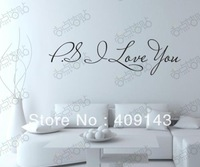 p s I Love You Removable Vinyl Art quote wall Sticker home decor  Drawing Room Decoration Decal free shipping wholesale