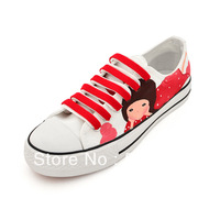 Free shipping large size Lacing low canvas hand-painted shoes sweet women's comfortable flat shoes summer 2013 painted shoes