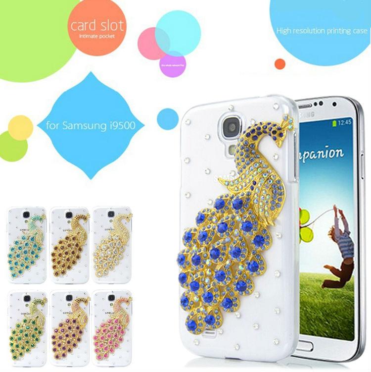 For Samsung Galaxy S4 i9500 Diamond Case Bling Luxury Peacock Clear Back Cover 3D Crystal Swarovski Rhinestones Handmade Design(China (Mainland))