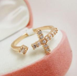 5pcs/1Lot 2014 Fashion Exquisite Rhinestone Cross Cuff Finger Rings XY-R106(China (Mainland))