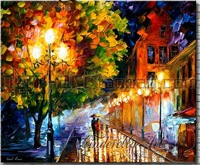 Red light Stree street night scenery handpainted oil painting on canvas