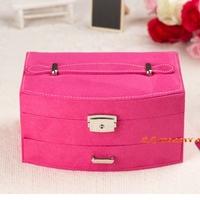 wool jewelry box accessories / cosmetic box jewelry case elegant trendy jewelry casket gift box