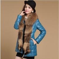 2013 Women's Genuine Sheepskin Leather Down Coat with Raccoon Fur Collar Female Winter Slim Garment