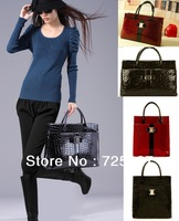 2013 fashion Luxury OL Lady Women Crocodile Pattern brand Designer Handbag Tote Bag Horizontal Vertical Version shoulder bag