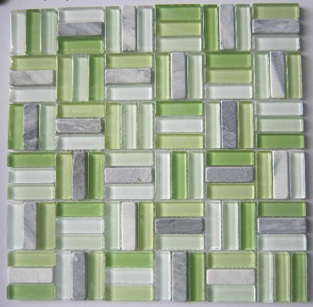Groene Keuken Tegels : Glass and Stone Mosaic Tile Bathroom