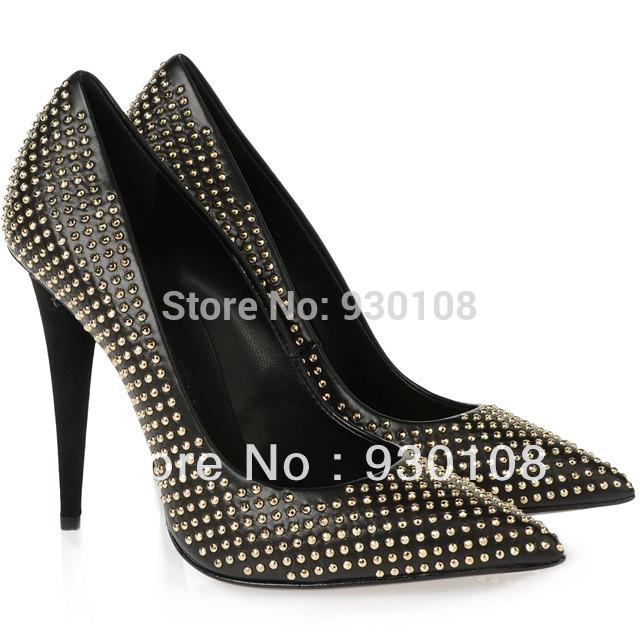 Grátis frete sensuais spikes saltos vestido sapato de couro preta pequenos rebites mulheres sapatos de couro(China (Mainland))