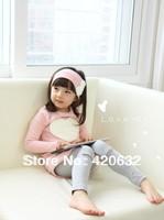 Free shipping Children's clothing 2013 autumn female love child triangle set