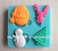 Free shipping 1Pcs Santa Claus Chocolate Candy Jello 3D silicone Mold Mould cake tools Bakeware sugarcraft Soap Mold