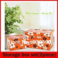 High Quality Flowers Multicolour coated Non-Woven waterproof home storage box set 2 piece,orange,blue,fushia,1.4kgs,yphb-Y28549