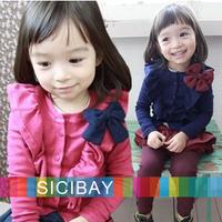 2014 Fashion Long Sleeve Shirt Baby Girl Autumn Cardigans Kids Fall Tshirts,Free Shipping Knot Tops K2072