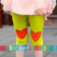 New Girls Summer Candy Leggings Baby Kids LOVE Half  Leggings Children Summer Clothes,5pcs/lot K2032