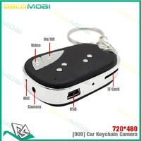 Mini Hidden Camera Sound control Video 909 Car Keychain DVR Remote Key Micro DV 50Pcs/Lot Free DHL Shipping