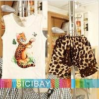 Free Shipping Fashion Outfits Baby Kids Summer Suits Leopard Sets Boy Tiger Vests Girls Harem Pants K2076