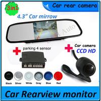 "car Monitor for DVD Camera VCR 4.3"" Car Rearview Mirror Monitor and car backup camera with parking sensor"