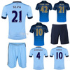 mixed order! customed! 10set/lot 14 15 New Man City away jersey 2014 Away Manchester City 14 15 soccer uniforms  Quality Blank