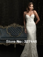 Chic vintage weddings 2013 nature waist dresses bridal gowns sweetheart lace spaghetti straps Mermaid white high quality dresses