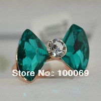 Min.order is $15(mix order) 2014 New Arrival Exaggerated Bow Jewelry Luxurious 18K Gold Plated Crystal Bowknot Big Ring R3345